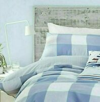 King Size Catherine Lansfield Duvet Quilt Cover Blue Checked Stripe Bedding Set