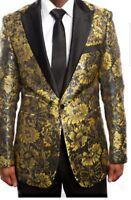 Satin Shawl Gold  Blazer floral blend Mens Tuxedo Jacket slim fit By Tazio