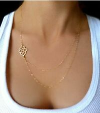 New Women Gold Plated Double Layers Chain Hollow Flower Chain Chunky Necklace