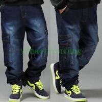 Jean Hip Hop Loose Baggy Mens Denim Blue SkateBoarding Street Pants Trousers Hot