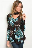 USA New Boho Brown Aqua Floral Western Choker Long Sleeve Blouse Tunic Top S-M