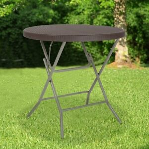 2.6-Foot Round Brown Rattan Plastic Folding Table - Outdoor Event Table