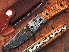 Custom Made Damascus Steel Blade With Olive Wood Handle Folding Pocket Knife