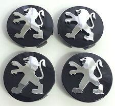 4x 60mm Alloy Wheel Centre Caps 106 107 206 207 306 307 BLACK fits Peugeot