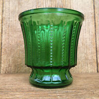 Forest Green Glass Hoosier Zipper Design Vase Planter Bowl Vintage