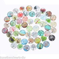 KUS:10 Mix Glassteine Lebensbaum Cabochons Klebstein Klebeperlen Glaskuppel 2cm
