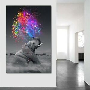 Modern Animal Canvas Poster Elephant Colorful Oil Painting Wall Art Living Room