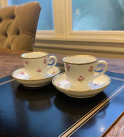 Limoges Demitasse Espresso Coffee Cup And Saucers Pink Roses Hand painted