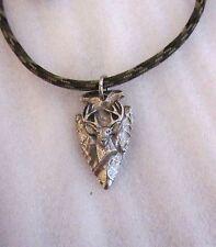 Buck Deer Head Arrowhead Broadhead Hunting Jewelry Camo Paracord Necklace USA