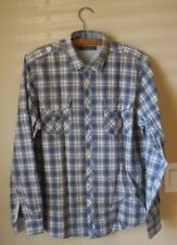 Ben Sherman Roll Tab Sleeve 100% Cotton Western Style Plaid Blue L Button Front