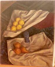 Lemons & Pears Still Life Oil Painting-1970s-Israel Louis Winarsky