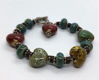 "Vintage Bracelet Toggle Heart Glass Blue 8"" Bead"