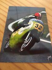 Carte postale moto Christian Ravel Kawasaki 500 Le Mans 1970 CP