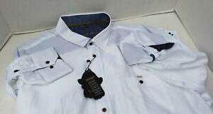 New Visconti Black Mens Shirt White Dress Roll Up Long Sleeve 2XLT 2X NWT 3404BT