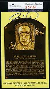 Barry Larkin Jsa Coa Certified Autograph Hand Signed Gold Hof Plaque Postcard