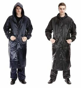 Unisex Long Hooded Waterproof Rain Coats Mens Womens Waterproof Outdoor Jackets