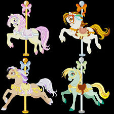 FANCY CAROUSEL HORSES - 30 MACHINE EMBROIDERY DESIGNS (AZEB)