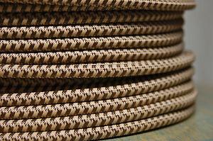 Marron & Fauve Tissu Couvert 3-Wire Rond Poulie Cordon, Pendentif Vintage Feux ,