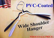 2/4/8/12 Pcs Metal Cloth Suit Coat Hanger Wide Shoulder PVC Coated WHITE BLACK