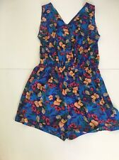 Vintage Style Floral PLAYSUIT Size 16 Elasticated Waist Pockets Pretty