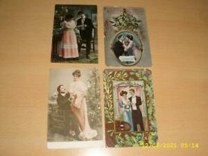 CHRISTMAS  GLAMOUR / ROMANCE COUPLES   COLLECTION OF VINTAGE GREETING  POSTCARDS