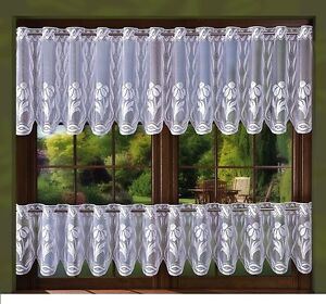 WHITE FLORAL KITCHEN CAFE NET CURTAIN -  SOLD BY METERS 30 cm,60 cm EYELET TOP