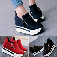 Womens Ankle Boots Hidden Wedge Heel Trainers High Top Sneakers Zip Shoes Size