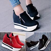 Womens Ladies Ankle Boots Hidden Wedge Heel Trainers High Top Sneakers Zip Shoes