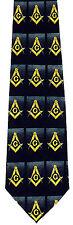 Compass & Square Blocks Mens Necktie Mason Freemason Masonic Black Neck Tie New