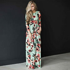 Womens Vintage Floral Off Shoulder Long Maxi Dress Summer Holiday Sundress Plus