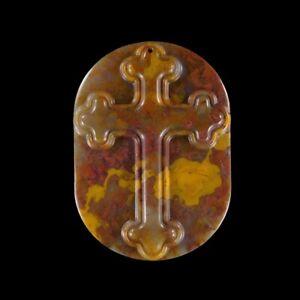 Forest Fire Jasper 70x50x8 mm CROSS bead GL600016
