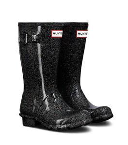NIB - HUNTER Original Kids Starcloud Rainboots In Black Multi Glitter - Size 5B