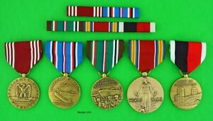 5 WWII Medals & Ribbon Bars - Army Good Conduct, European, Occupation   USA Made