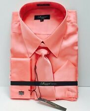 Men's Satin Dress Shirt Coral Tie, Hanky Luccessol by Phita French Cuff Size XL