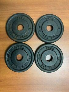 Set of 4 Vintage York Barbell 2.5 LB Weight Plates Standard Barbell