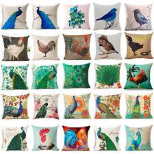 """18"""" Vintage Peacock Cotton Linen Pillow Case Soft Throw Cushion Cover Home Decor"""