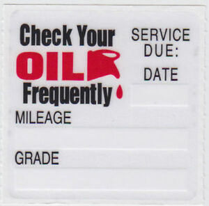 50 Oil Change Reminder Stickers Clear Static Cling Decals Fast Free Shipping