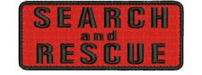 Search and Rescue embroidery patches 2x5 hook on back black red