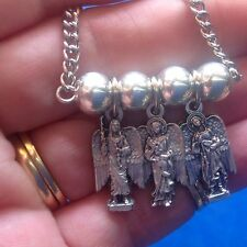 3 Archangel NECKLACE St Medals Michael Gabriel Raphael Saint Pendant Stainless