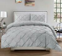 SWEET HOME COLLECTION~Silver Luxury Pinch Pleat Pintuck King Duvet Set