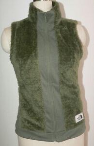 Women's The North Face SZ S/P Green Polyester Fleece Zipper Front Vest 2-Pockets