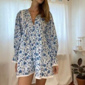 Maurie & Eve Blue Floral Puff Sleeve 'Another Day' Mini Dress   Size 12