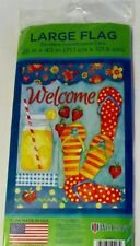 "NWT Welcome Lg. garden flag / banner 28"" x 40"" Summer Flip Flops $ Strawberries"
