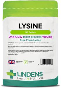 Lysine 1000mg Tablets L Lysines Amino Acid Lindens