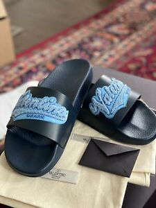 NEW Valentino Garavani Logo Leather Pool Slides Sandals Men 9 EUR 42 $375