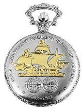 Taschenuhr Weiß Silber Gold Columbus Schiff Metall Analog Quarz D-60356116909299