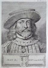 Gravure Antique print JEAN II Comte de Hollande Flipart Count of Holland