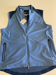 Peter Millar Crown Sport Mens NWT Medium Lt Blue Full Zip Whisper Rock Vest $145