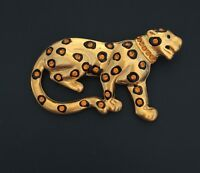Vintage Cheetah Brooch/PIn in enamel & Gold Tone Metal With crystals .