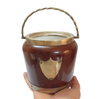 Antique English,Biscuit Barrel Wood Oak Silver painted Shield And porcelain Fine
